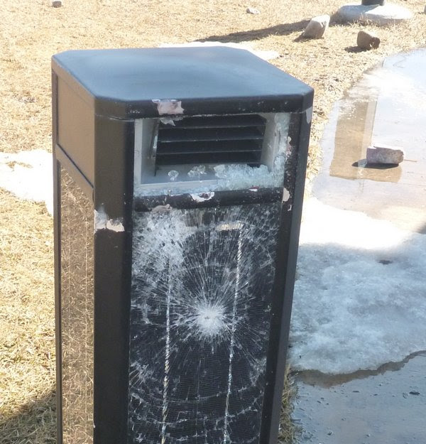 Vandals Bash Solar Lights